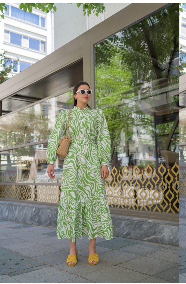 שמלת זברה ירוק